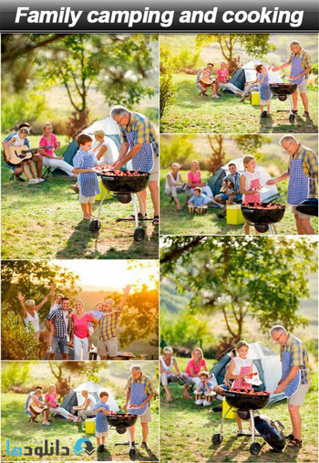 Family-camping-and-cooking