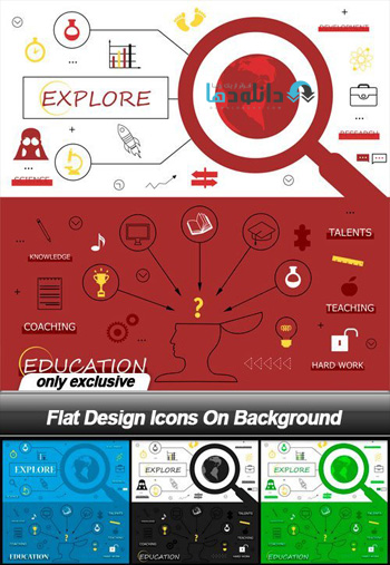Flat-Design-Icons-On-Background