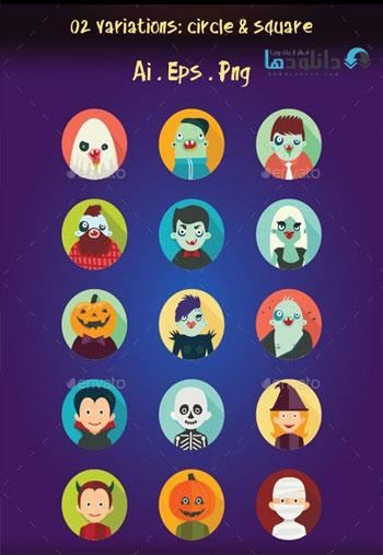 Hipster-Halloween-Avatar-Flat-Icons
