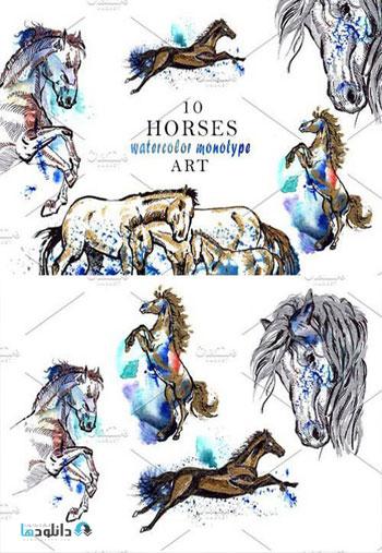 Horse-Watercolor-Monotype