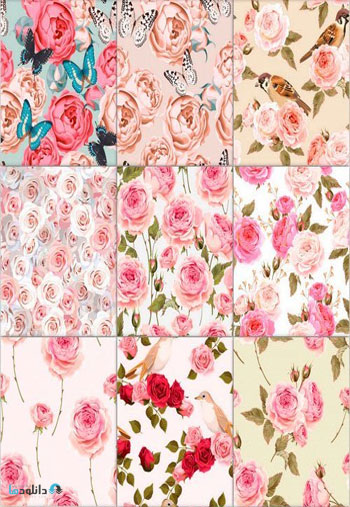 English-roses-and-birds-seamless