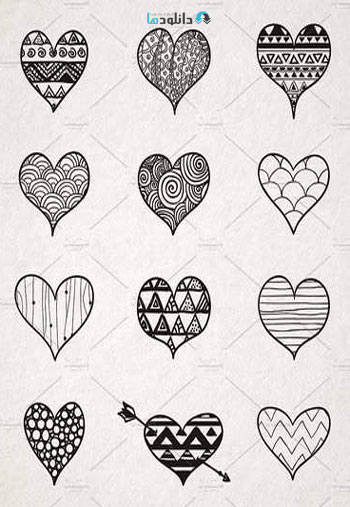 Hand-Skeched-Hearts-Set