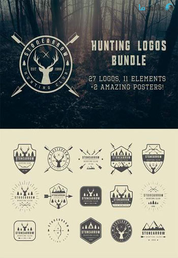 Set-of-vintage-hunting-logo