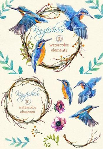 Kingfishers-Watercolor-Clip