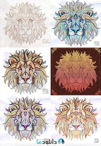 Patterned-head-of-the-lion-on-the-grunge
