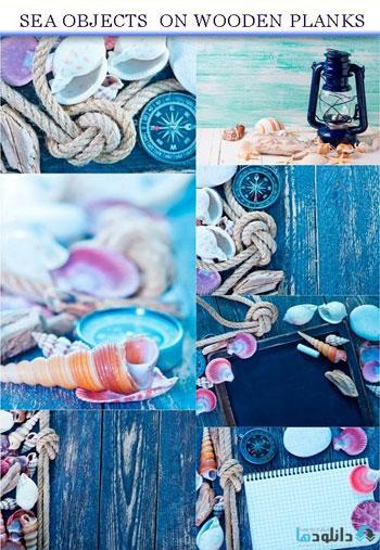 استوک-Sea-objects-on-wooden-plank
