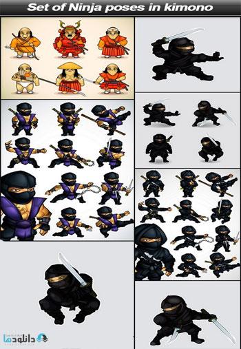 Set-of-Ninja-poses-in-kimono