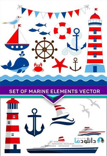 Set-of-marine-elements-Vector