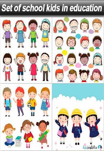 Set-of-school-kids-in-education