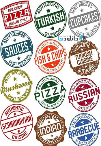 Stamps-labels-logos-and-traditional-dishes-of-the-world-cuisine