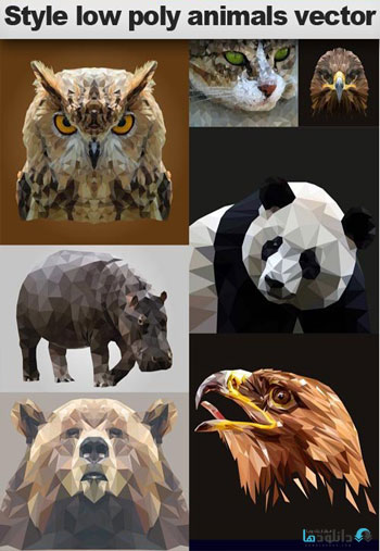 وکتور-Style-low-poly-animals