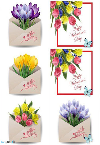 Valentines-Day-Card-Colorful-spring-flowers-in-envelope