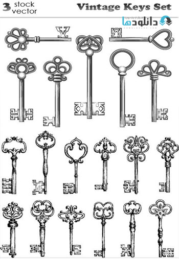 Vintage-Keys-Set-Vector