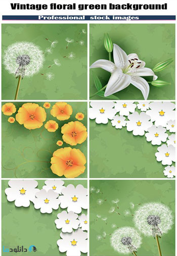 Vintage-floral-green-background