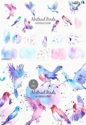 Watercolor-Abstract-Flying-Birds