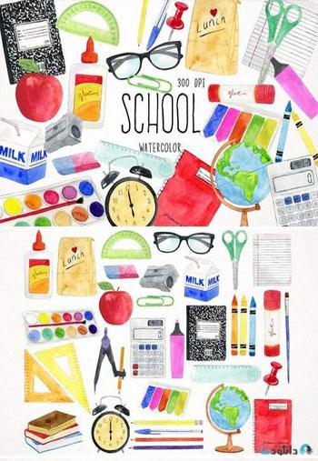 Watercolor-School-Clipart