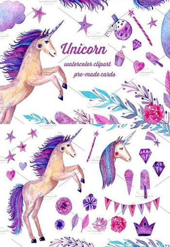 Watercolor-Unicorn-set