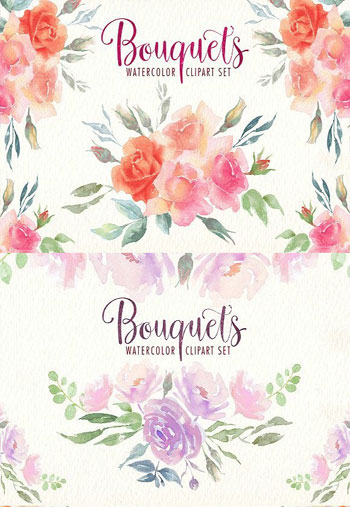 Watercolor-bouquets-clipart