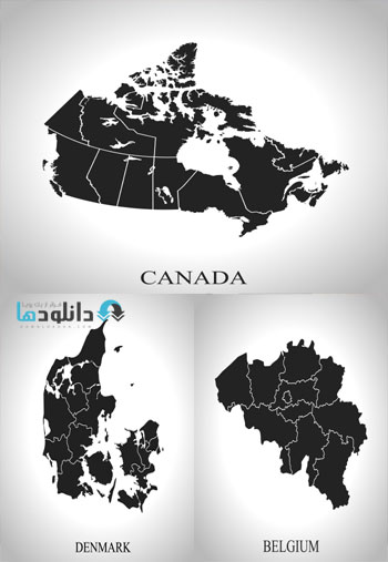 country vector  دانلود تصاویر وکتور  Sillhuettes Of World Map And Countries