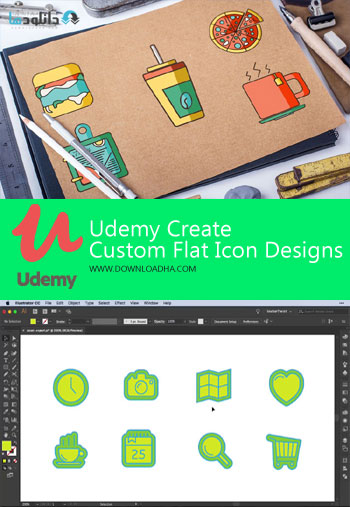 ویدیو-آموزشی-udemy-create-custom-flat-icon-designs