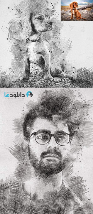 اکشن-فتوشاپ-sketch-drawing-photoshop-action