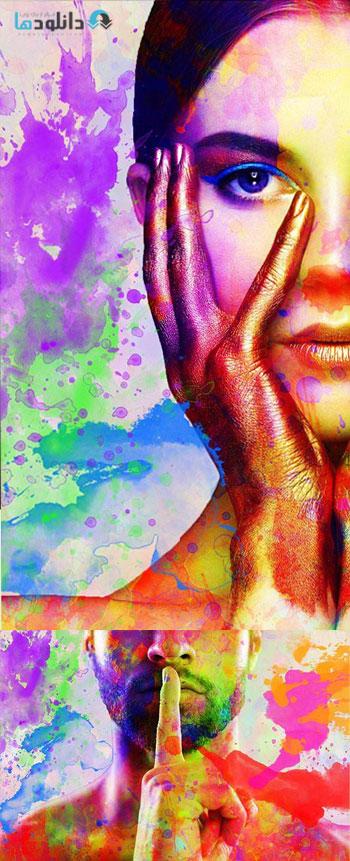 دانلود اکشن فتوشاپ Color Splatter Photoshop Action