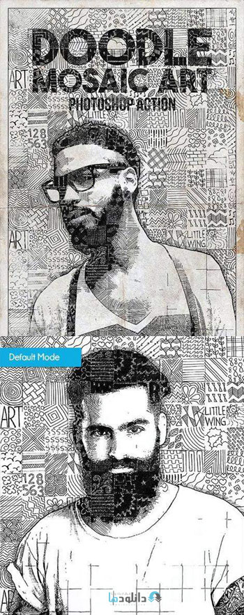 اکشن-فتوشاپ-doodle-mosaic-art-photoshop-action