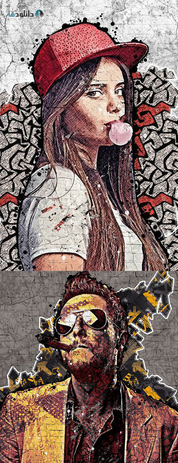 اکشن-فتوشاپ-graffiti-painter-photoshop-action
