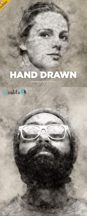 اکشن-فتوشاپ-hand-drawn-photoshop-action